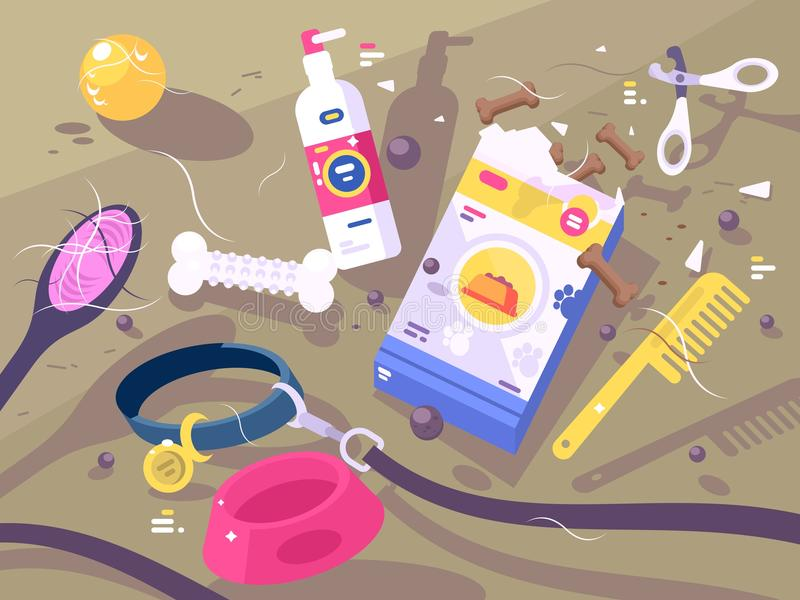 Accessories for pet care. Collar and leash, comb and forage. Vector illustration vector illustration