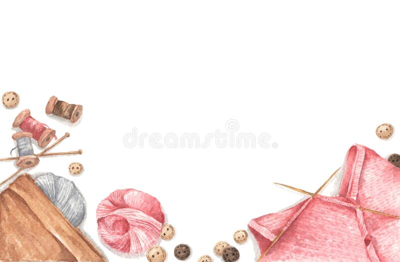 Accessories for sewing and needlework concept. Copy space. Flat lay, top view. Watercolor illustration royalty free stock photos