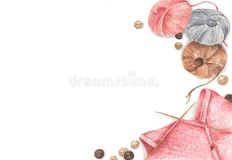 Accessories for sewing and needlework concept. Copy space. Flat lay, top view. Watercolor illustration stock photo