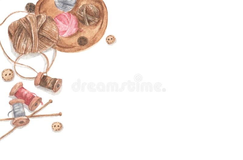 Accessories for sewing and needlework concept. Copy space. Flat lay, top view. Watercolor illustration stock photos