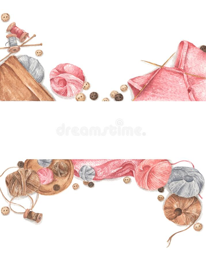 Accessories for sewing and needlework concept. Copy space. Flat lay, top view. Watercolor illustration royalty free stock images