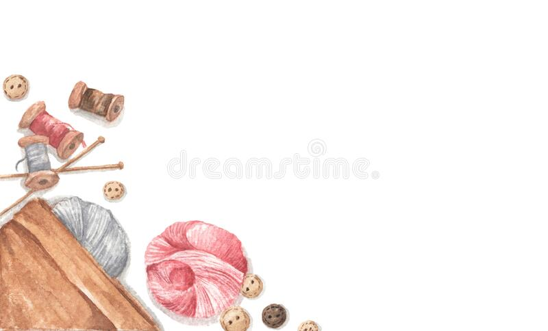 Accessories for sewing and needlework concept. Copy space. Flat lay, top view. Watercolor illustration stock image