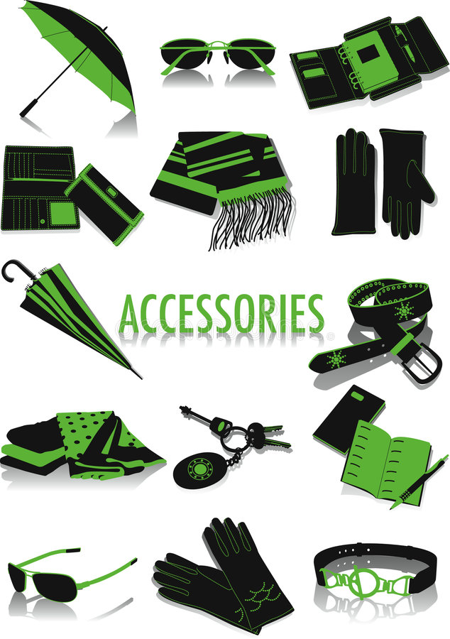 Accessories silhouettes royalty free illustration