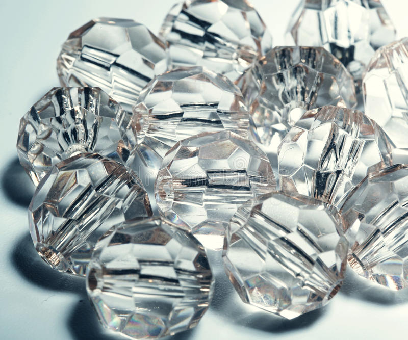 Accessories, small transparent crystals stock image