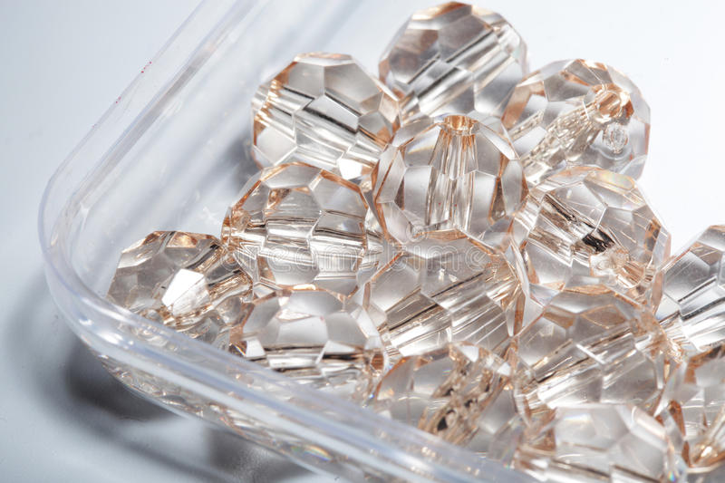 Accessories, small transparent crystals stock images
