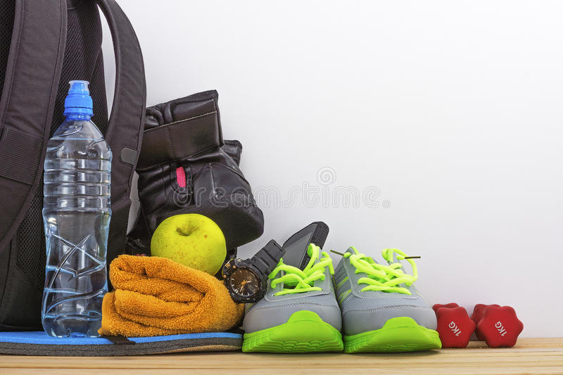 Accessories for sport in the gym stock photography