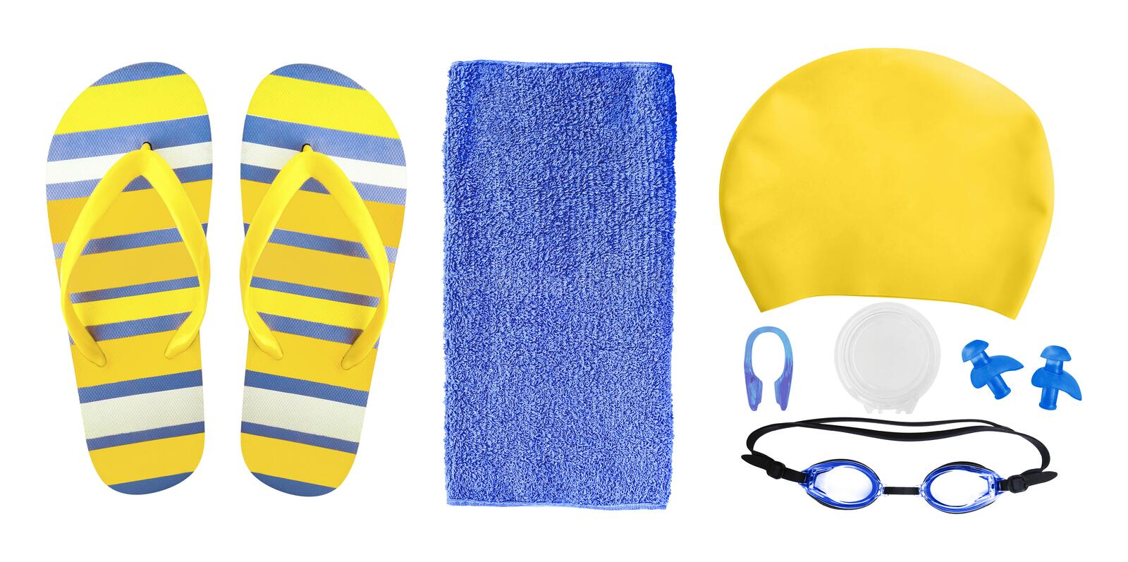 Accessories for swimming pool isolated on white royalty free stock image