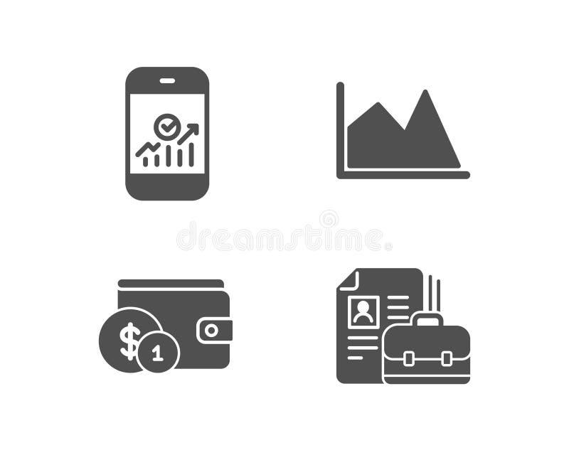 Accessorio d'acquisto, icone di statistiche della linea grafico e di Smartphone Segno di offerta di l$voro royalty illustrazione gratis