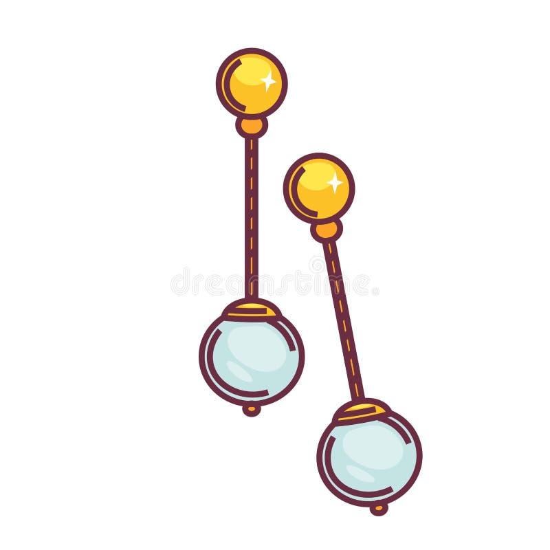 Accessorio femminile degli orecchini dei gioielli di vecchio con oggetto isolato perla illustrazione di stock