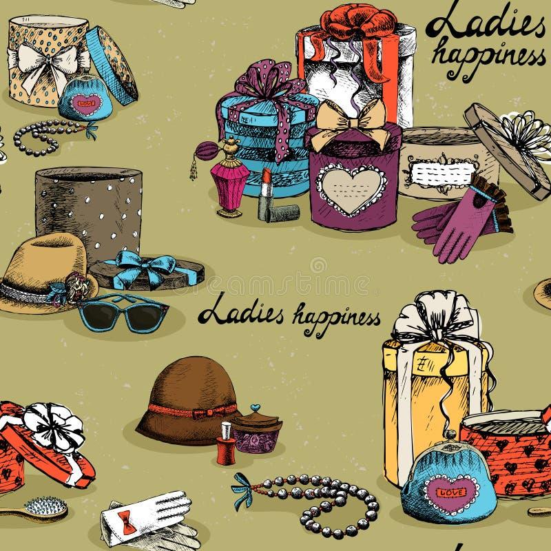 Accessorio senza cuciture della donna con i contenitori di regalo illustrazione vettoriale