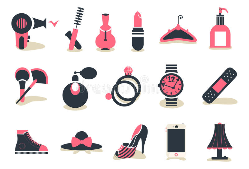 Accessory&cosmetic icon. Simple icons which are used for cosmetic products and fashion accessories stock illustration