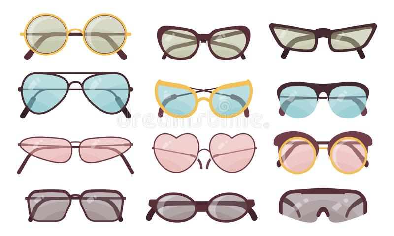 Accessory sun spectacles vector set. Collection of colorful sunglasses. Summer eyeglasses. stock illustration