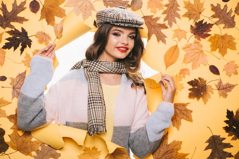 Accessory trends worth trying in fall. Fall look of vogue model. Pretty woman wear autumn fashion accessories. Fashion stock images