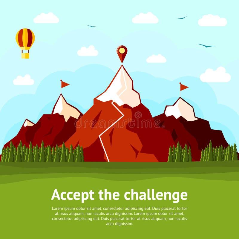 Accetti la carta di concetto di sfida con il livello illustrazione vettoriale