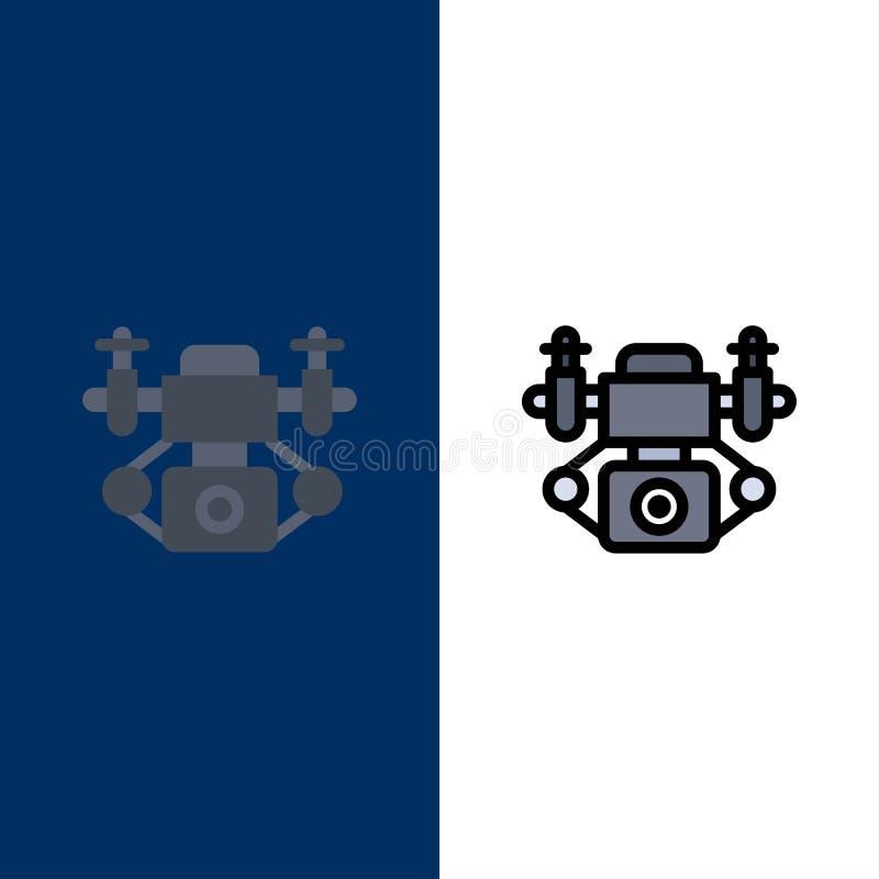 Acción, cámara, iconos de la tecnología El plano y la línea icono llenado fijaron el fondo azul del vector libre illustration