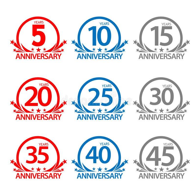 Acción de etiqueta del aniversario, diseño plano, etiqueta determinada colorida, vector stock de ilustración
