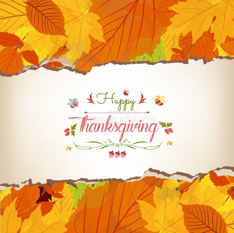Acción de gracias feliz con el fondo de las hojas de arce stock de ilustración