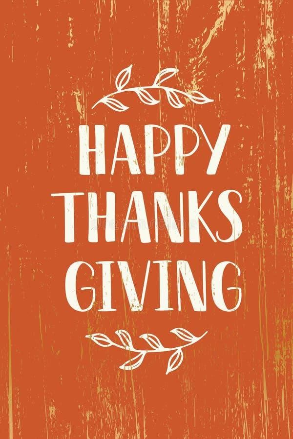 Acción de gracias feliz - mano dibujada poniendo letras a tipografía libre illustration