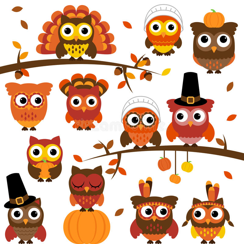 Acción de gracias y Autumn Themed Vector Owl Collection stock de ilustración