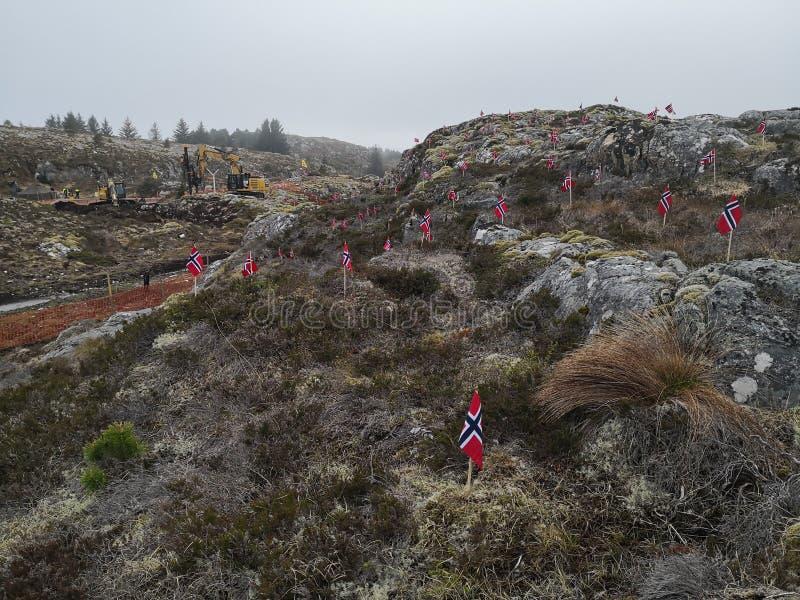 Acción de la protesta contra la construcción de molinoes de viento en Noruega fotos de archivo