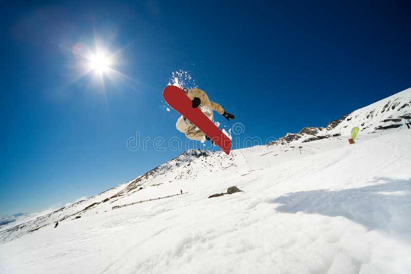 Acción de la snowboard foto de archivo libre de regalías