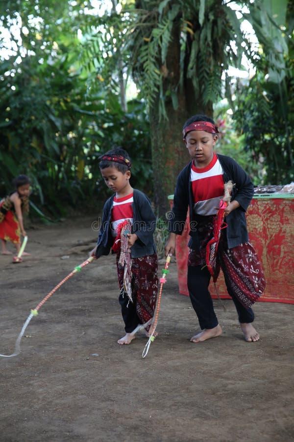 Acción de los huérfanos jovenes de un cacao, de un café y de una plantación de la especia en el pueblo de Kalibaru en Java Indone fotografía de archivo libre de regalías