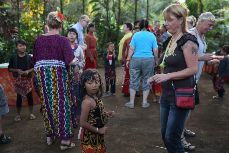 Acción de los huérfanos jovenes de un cacao, de un café y de una plantación de la especia en el pueblo de Kalibaru en Java Indone fotografía de archivo