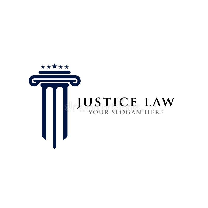 Acción del diseño del logotipo de la ley de la justicia icono del vector del ejemplo de la forma del pilar y de las estrellas ilustración del vector