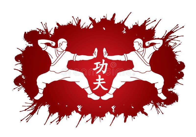 Acción del kung-fu lista para luchar vector gráfico stock de ilustración