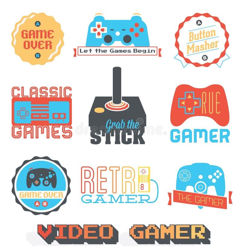 Acción del vector: Etiquetas retras de la tienda del videojuego libre illustration