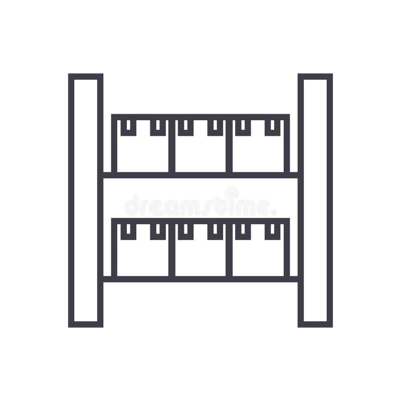 Acción, línea industrial icono, muestra, ejemplo del vector del almacén en el fondo, movimientos editable libre illustration