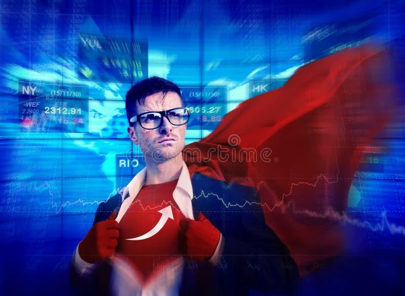 Acción profesional Co de la capacitación del éxito fuerte del super héroe de la flecha foto de archivo libre de regalías