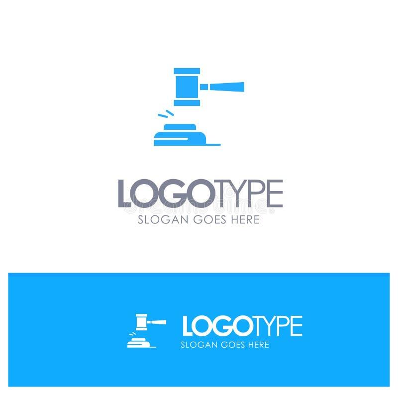 Acción, subasta, corte, mazo, martillo, juez, ley, logotipo sólido azul legal con el lugar para el tagline stock de ilustración