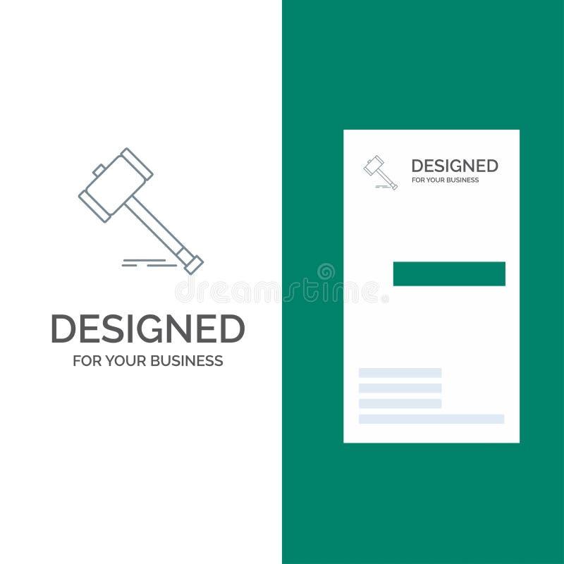 Acción, subasta, corte, mazo, martillo, ley, Grey Logo Design legal y plantilla de la tarjeta de visita ilustración del vector