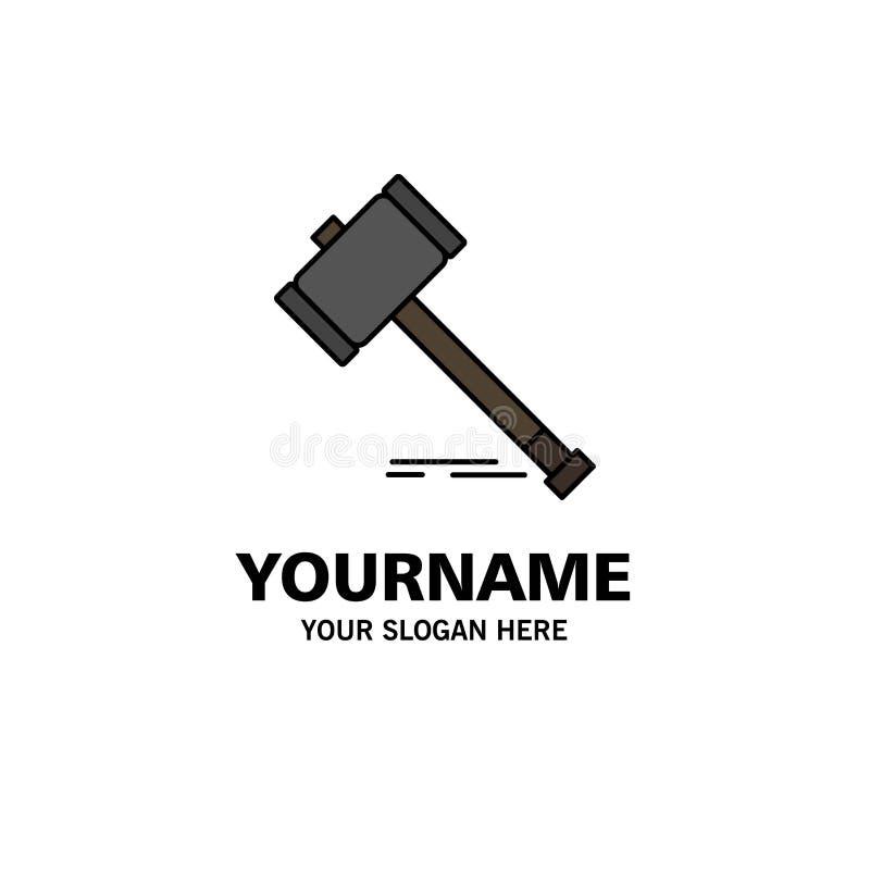 Acción, subasta, corte, mazo, martillo, ley, negocio legal Logo Template color plano stock de ilustración
