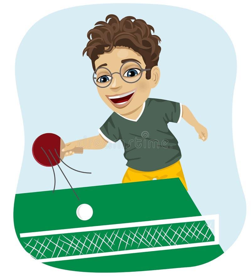 Acción tirada del muchacho del empollón que juega a tenis de mesa stock de ilustración