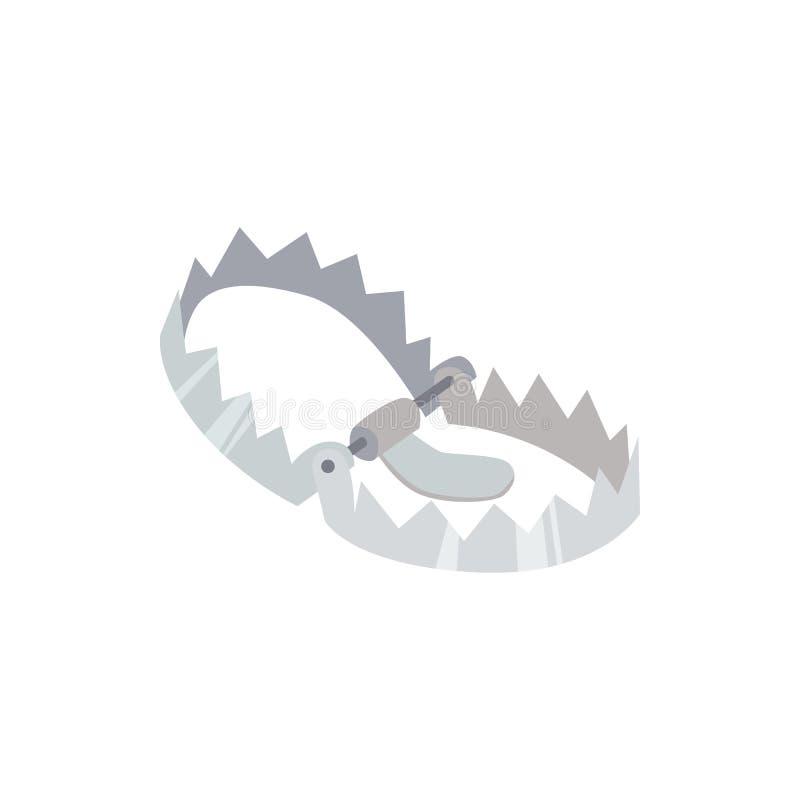Acciaio, metallo e trappola cercante tagliente, attrezzatura del cacciatore contro gli animali ed orso illustrazione vettoriale