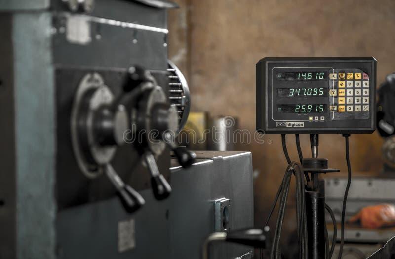 Acciaio per utensili del lavoro della macchina del tornio di industria fotografia stock