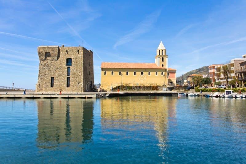 Acciaroli,萨莱诺 安农齐亚塔的教会 免版税库存图片