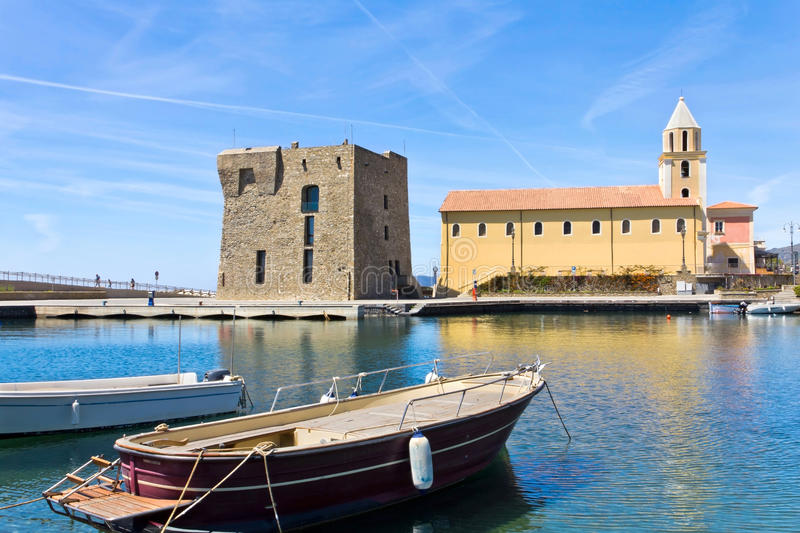 Acciaroli, Salerno. Church of the Annunziata stock photo