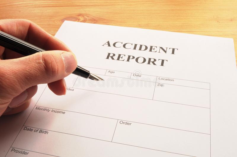 Download Accidebt report stock image. Image of form, document - 14017315