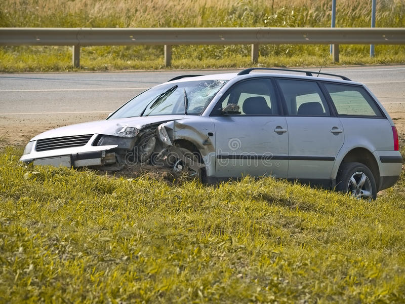 Accident. Road accident, car on hill stock photography