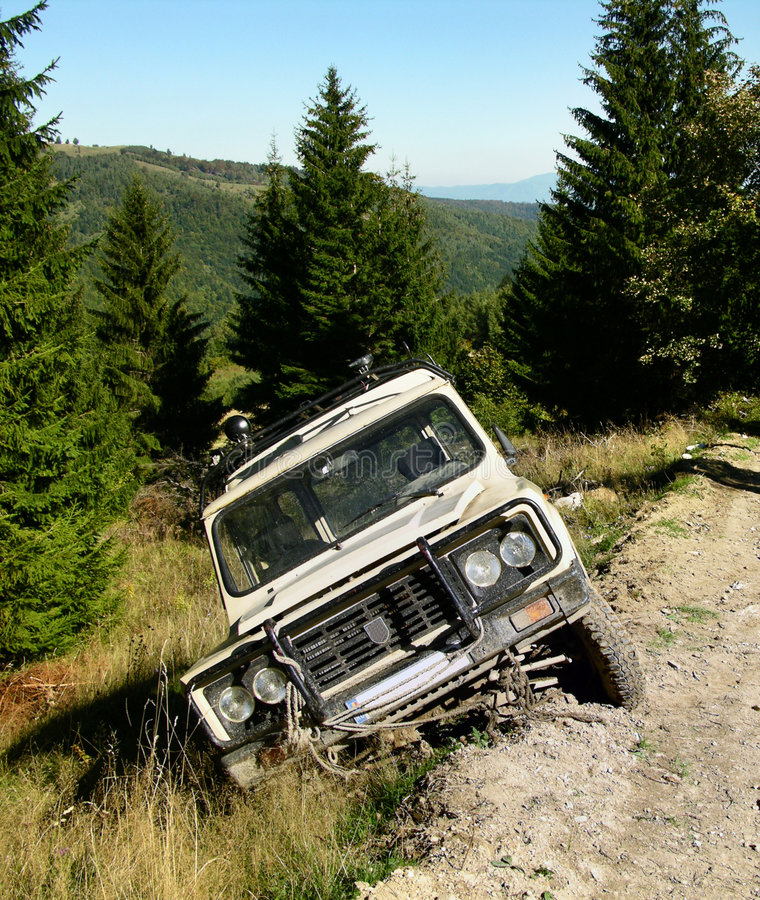 Accident with big car in ditch. Big car in ditch, in romanian mountains royalty free stock photo