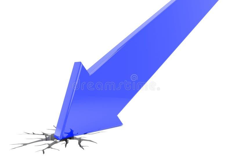 Accident bleu de la flèche 3d illustration libre de droits