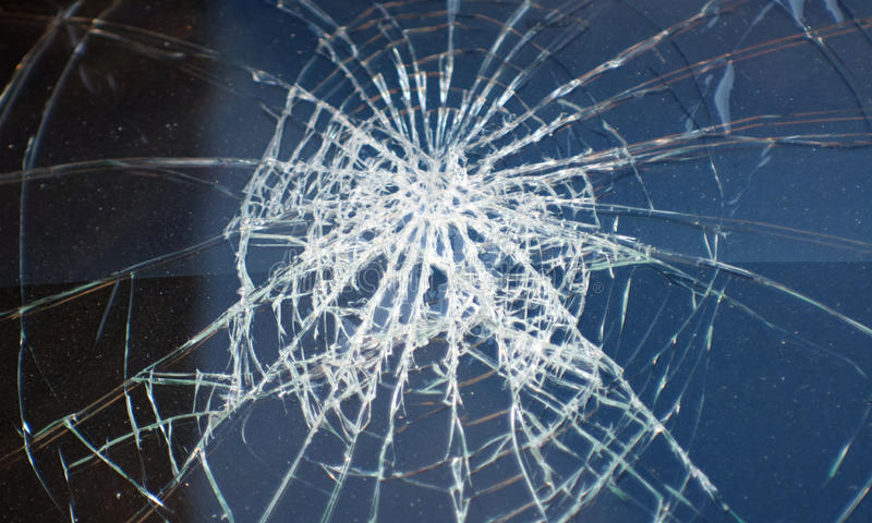 Accident, the broken glass of the car stock photo