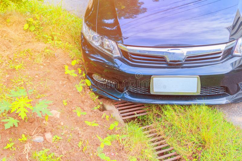 Accident car fall ditch on the road.  royalty free stock images