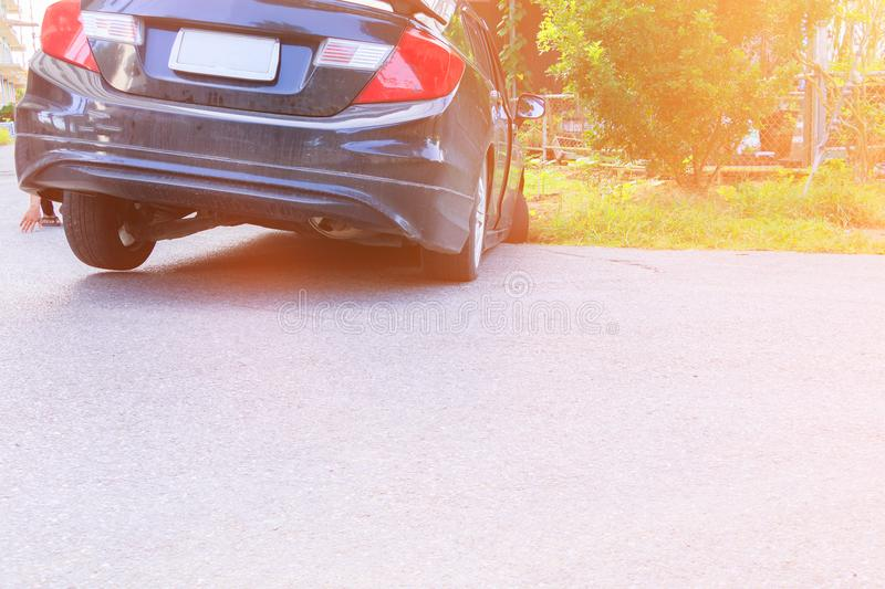 Accident car fall ditch on the road.  royalty free stock photo