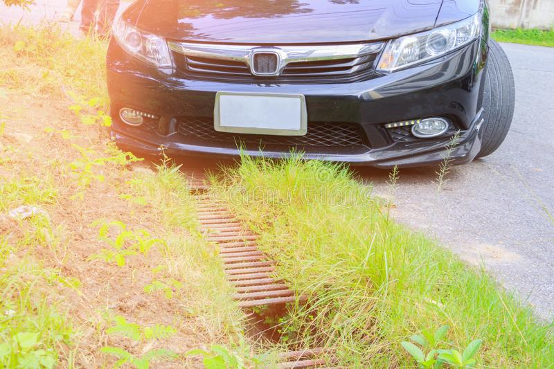 Accident car fall ditch on the road.  royalty free stock photography