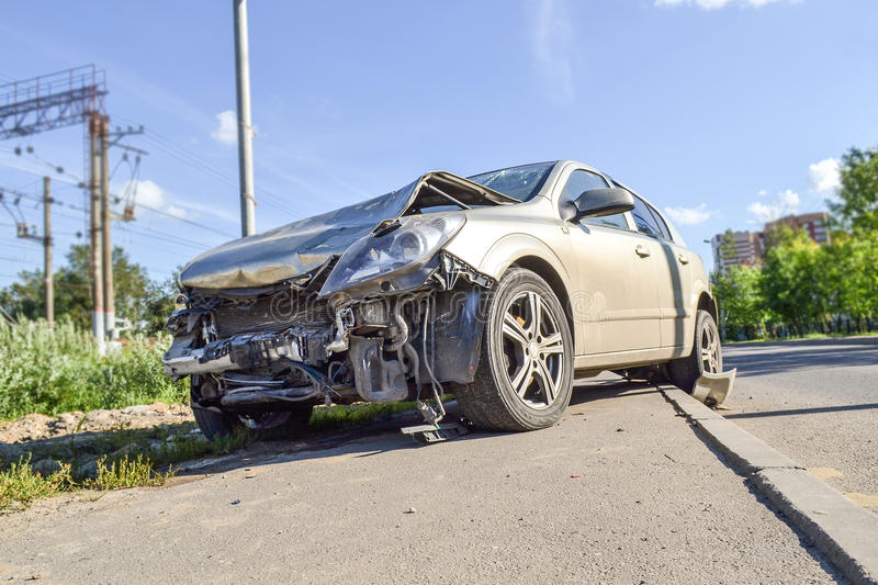Accident. The car has a front end. Accident. The car has a front end stock photos