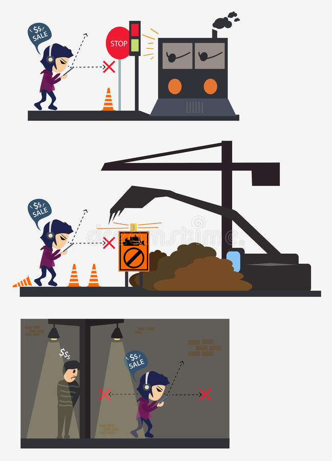 Accident character man busy eye in road scene train construction vector illustration